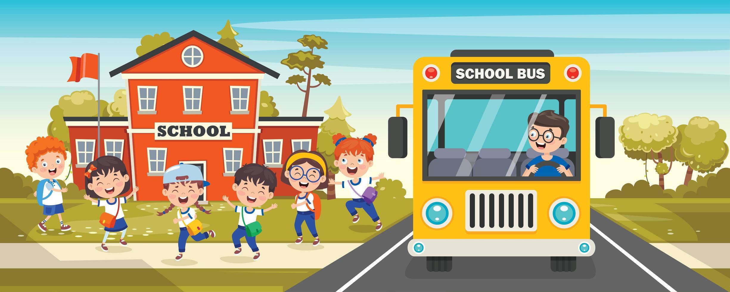 fronte dello scuolabus con uscita dei bambini della scuola vettore
