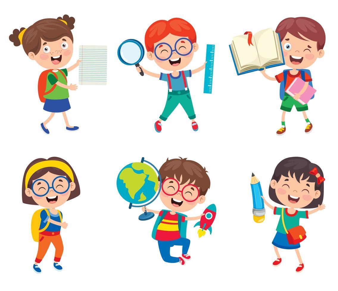 set di studenti felici con materiale scolastico vettore