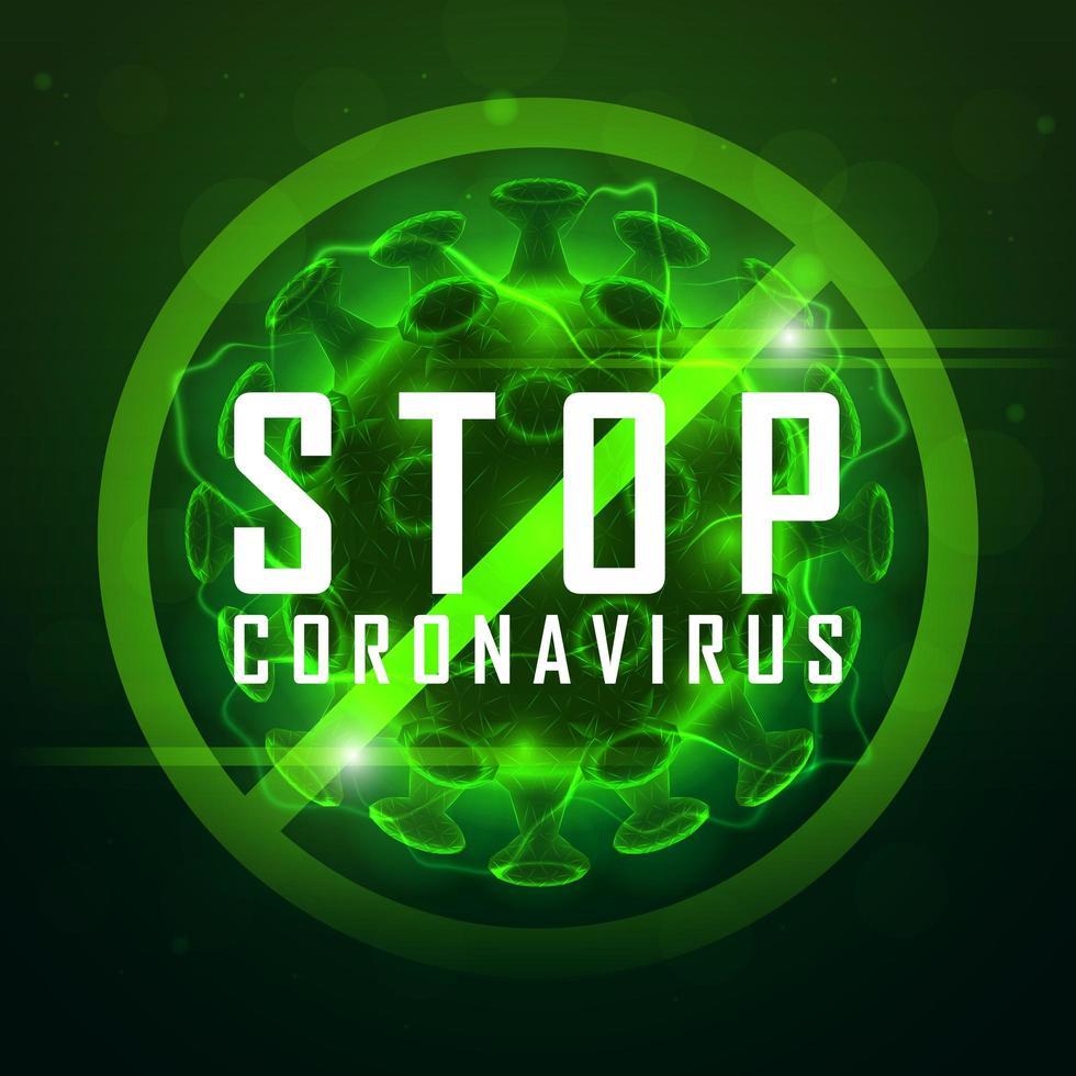 simbolo di coronavirus stop verde incandescente vettore