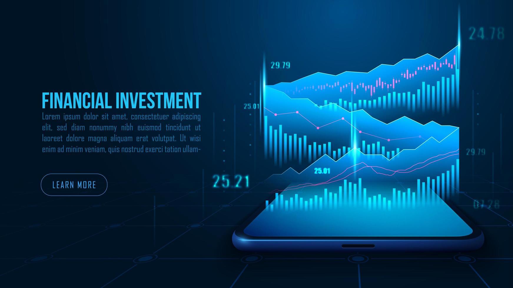 stock isometrico o grafico di trading forex su smartphone vettore