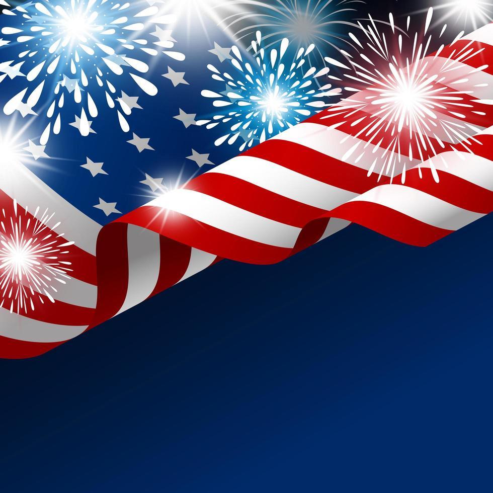 bandiera americana con fuochi d'artificio sul gradiente blu vettore