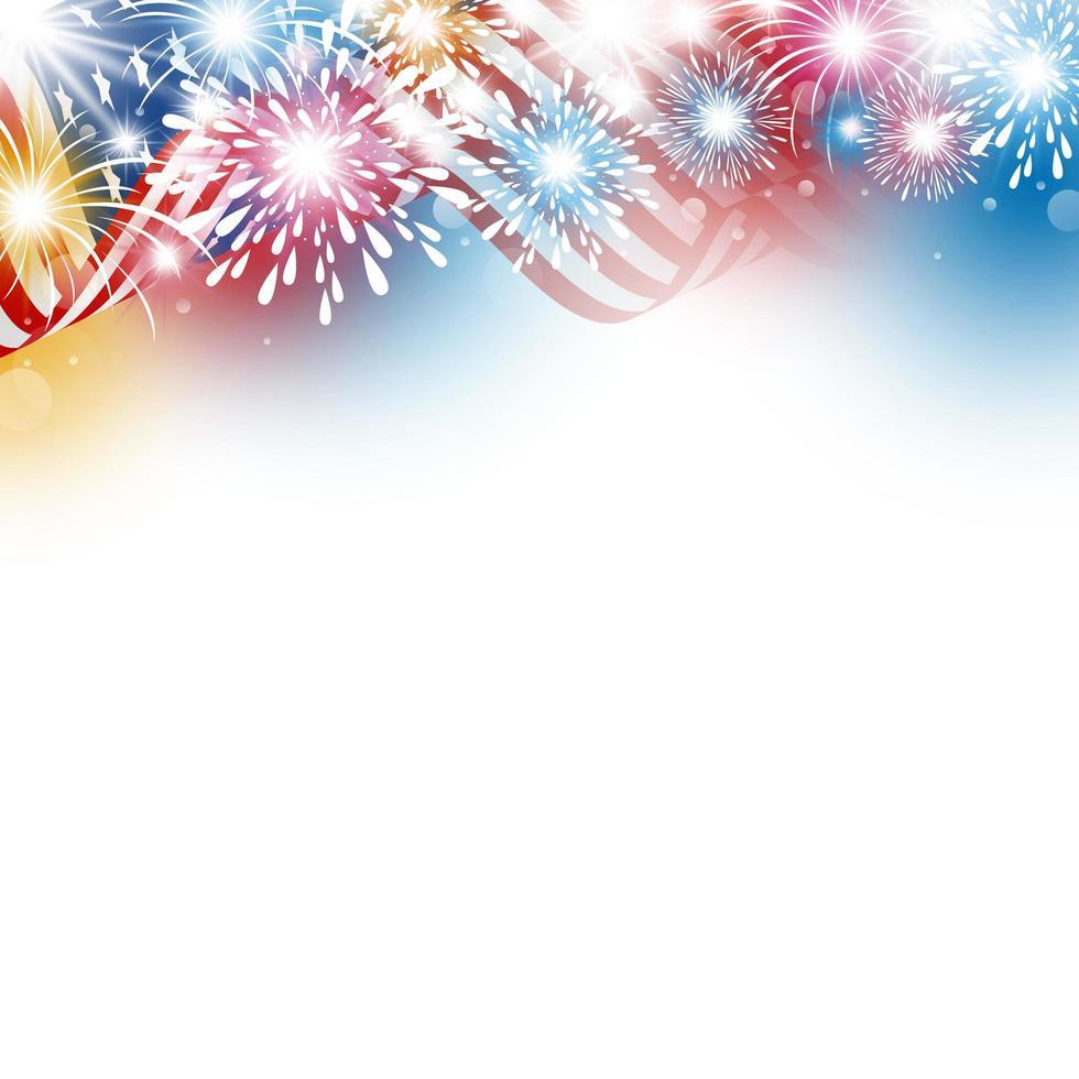 copia spazio con bandiera americana e bordo di fuochi d'artificio vettore