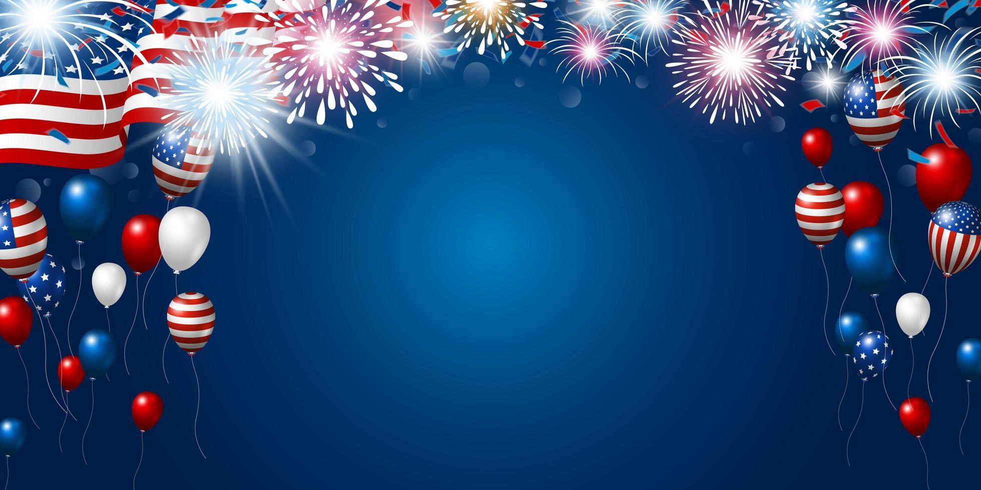 disegno della bandiera americana con fuochi d'artificio e palloncini vettore
