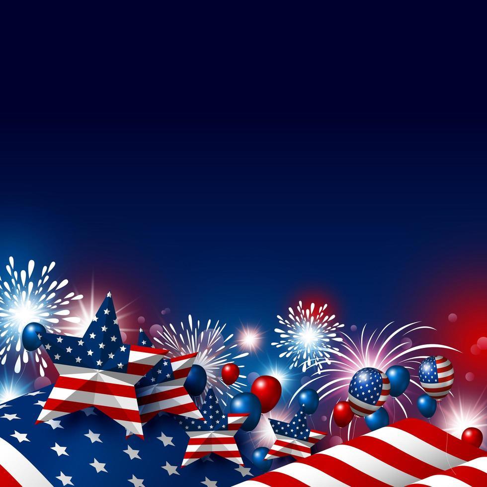 4 luglio design con stelle della bandiera americana e fuochi d'artificio vettore