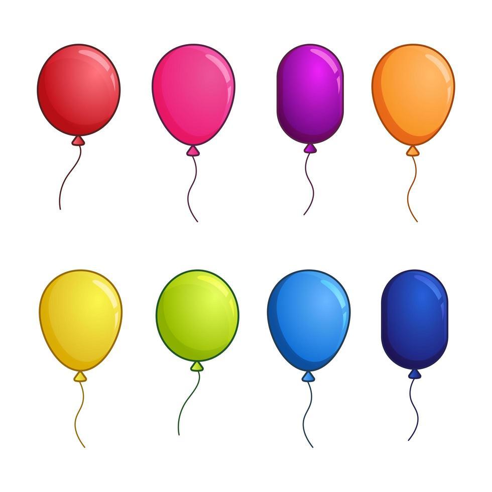 set palloncino colorato lucido vettore