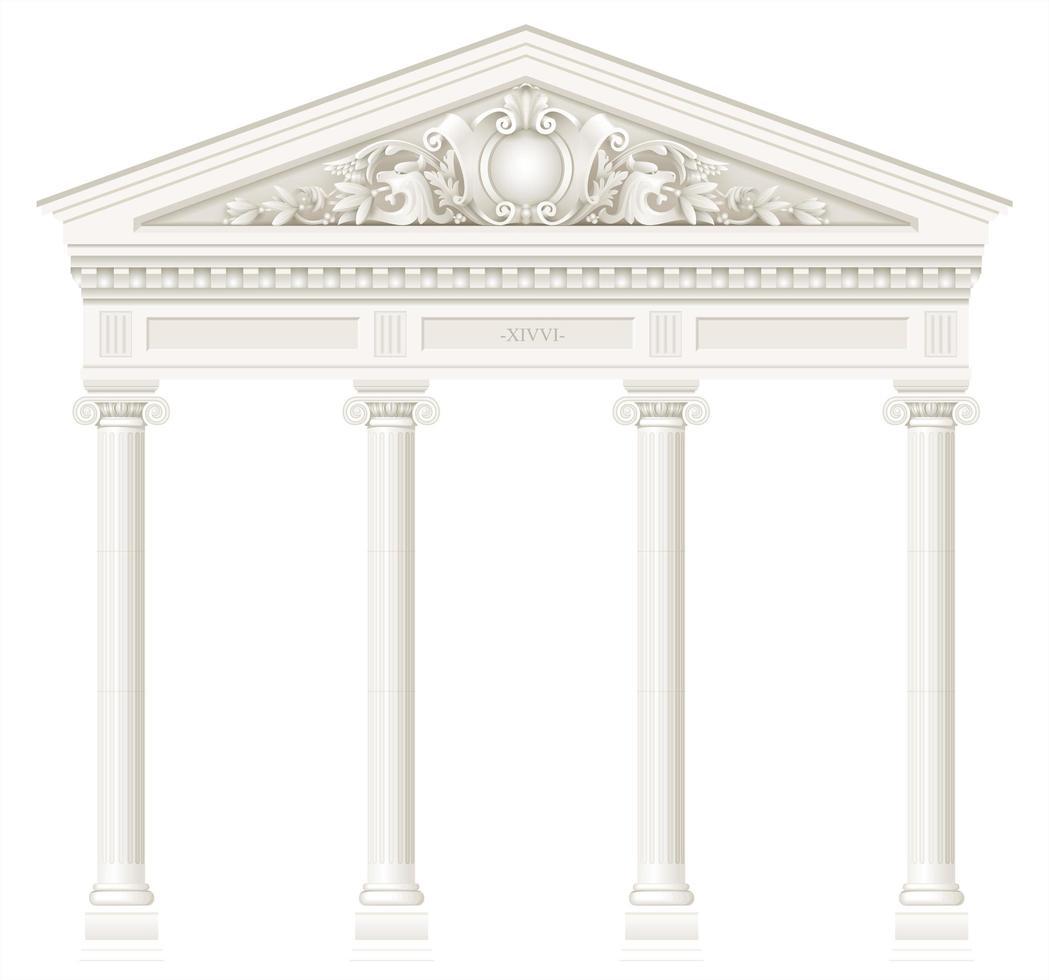 antico colonnato bianco con colonne ioniche vettore