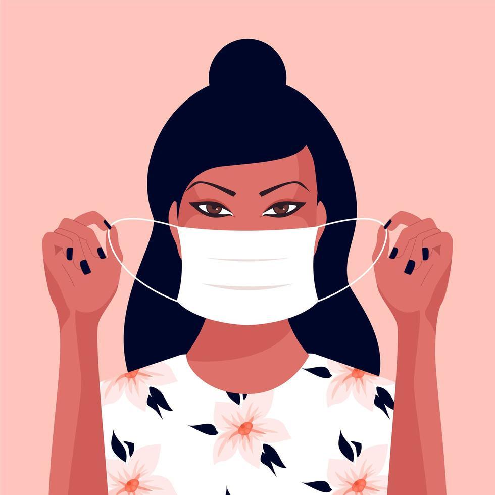 giovane donna asiatica che indossa una maschera vettore