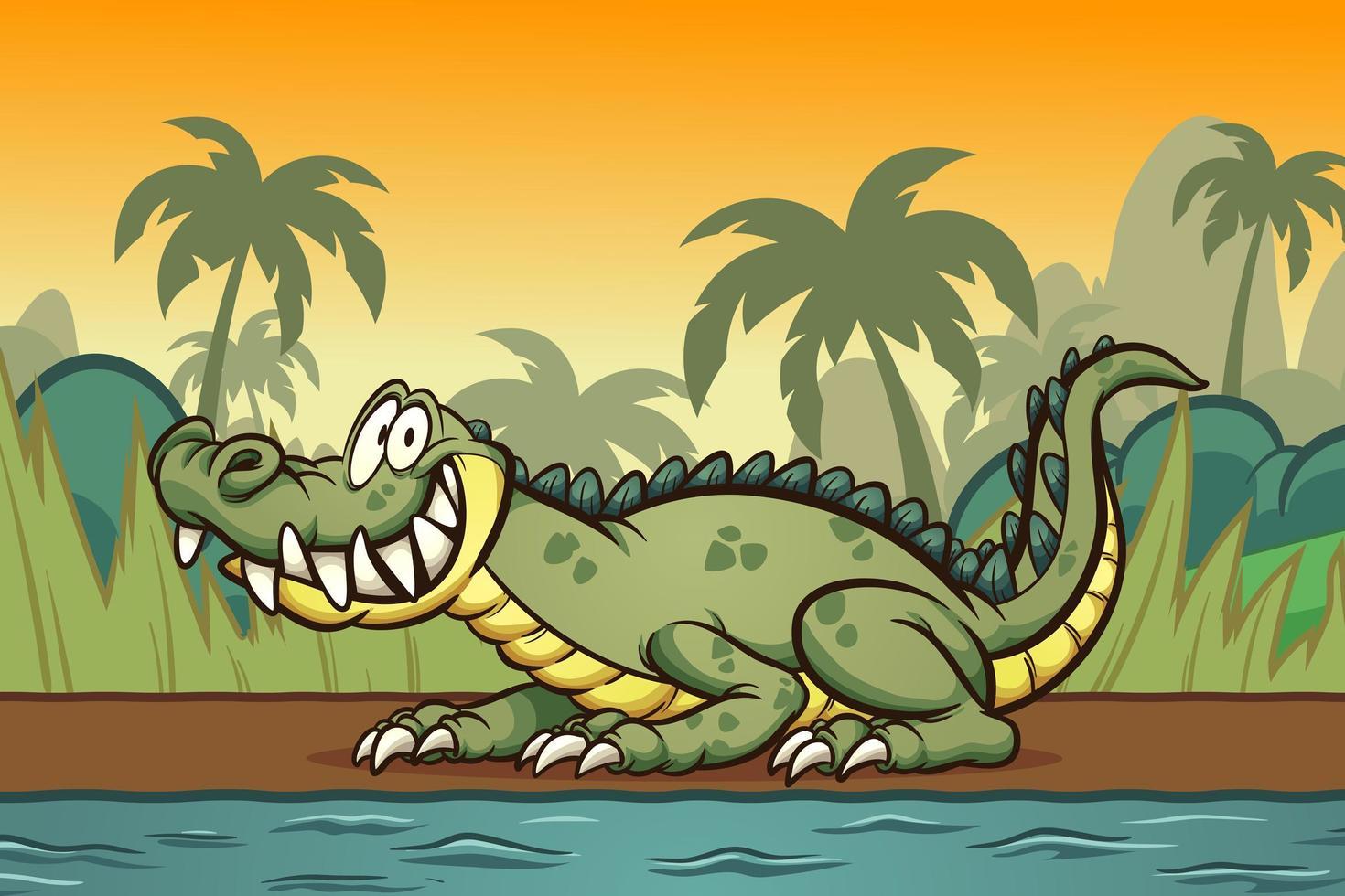 coccodrillo del fumetto sulla riva del fiume vettore
