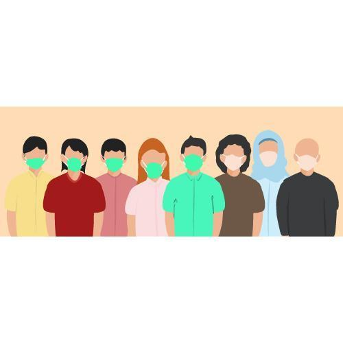 gruppo eterogeneo di persone che indossano maschere per il viso vettore