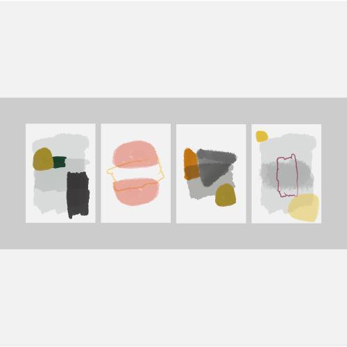 set di carte dipinte a mano minimalista creativo vettore