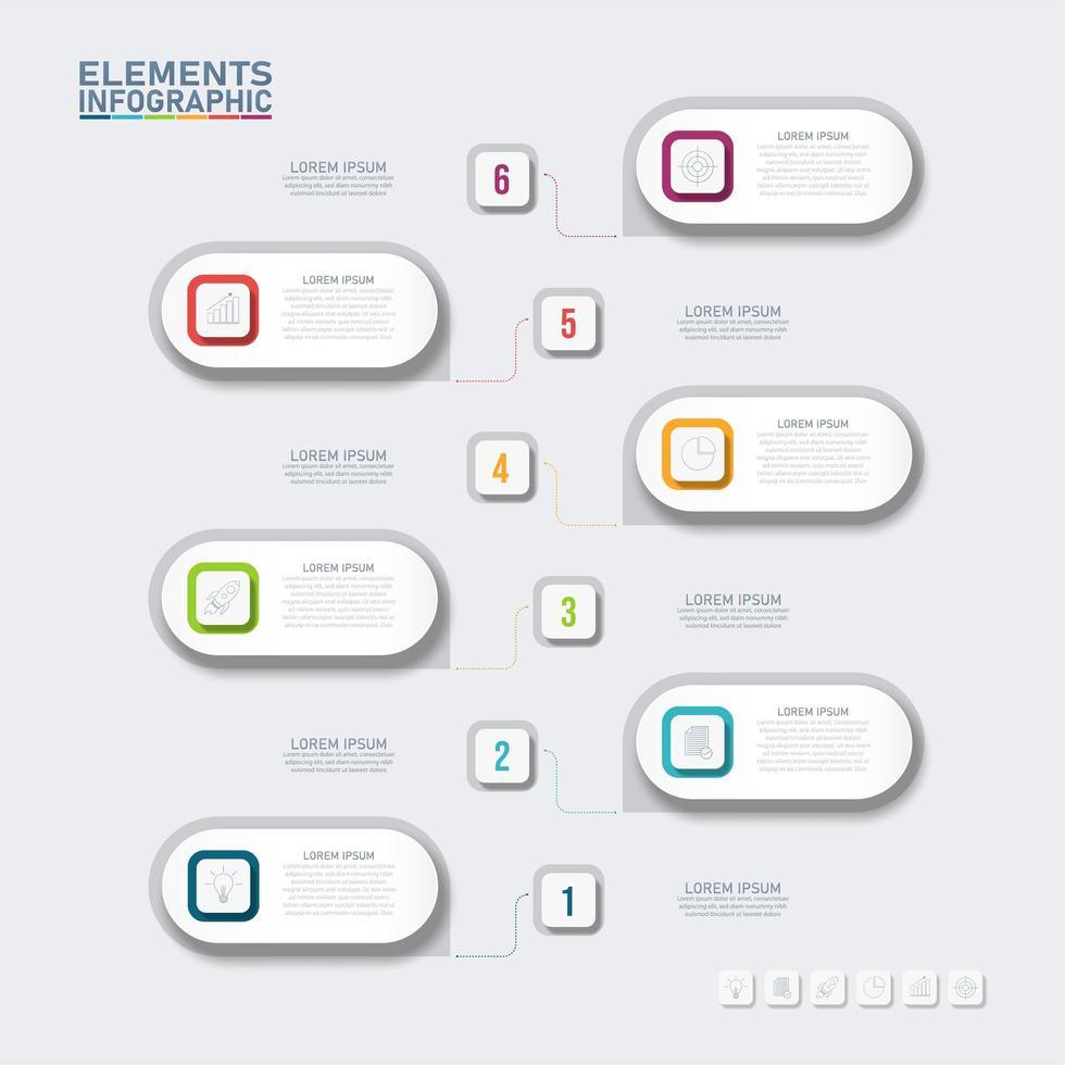 infografica a forma di capsula con 6 opzioni vettore