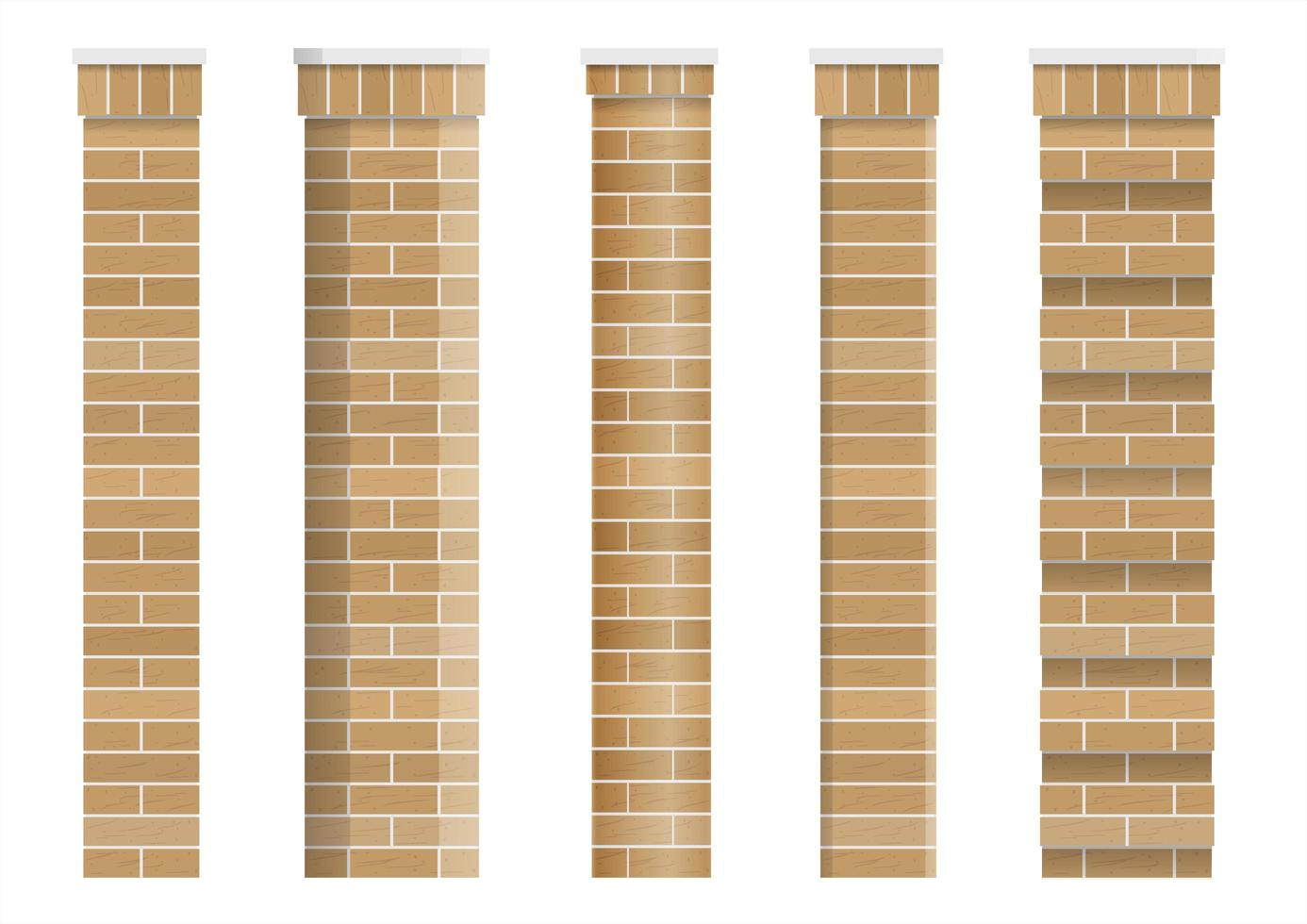 set di trame di colonne classiche in mattoni vettore