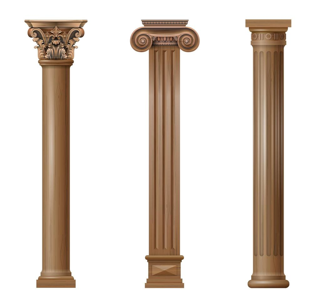 colonne architettoniche classiche in legno intagliato vettore