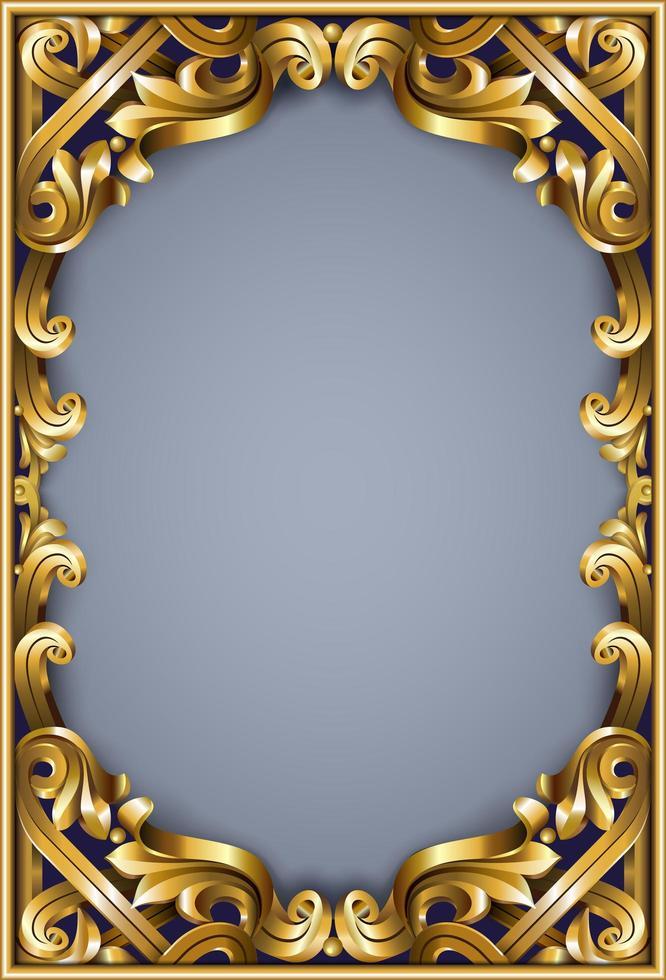 cornice dorata classica rococò vettore