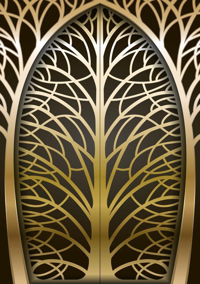 cancello di albero forgiato dorato vettore