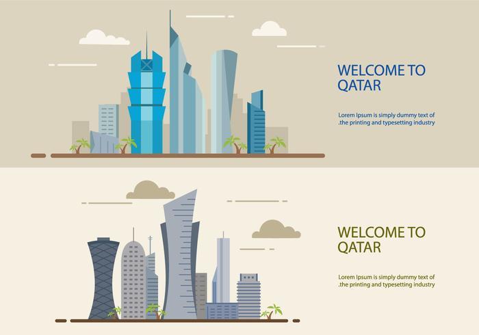 Il Qatar sta costruendo un design piatto vettore