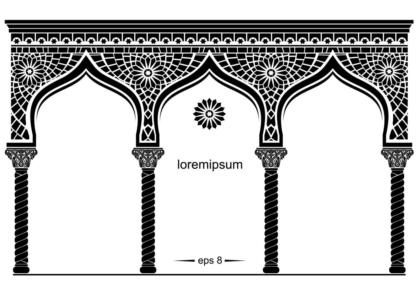 sagoma della facciata ad arco ad est vettore