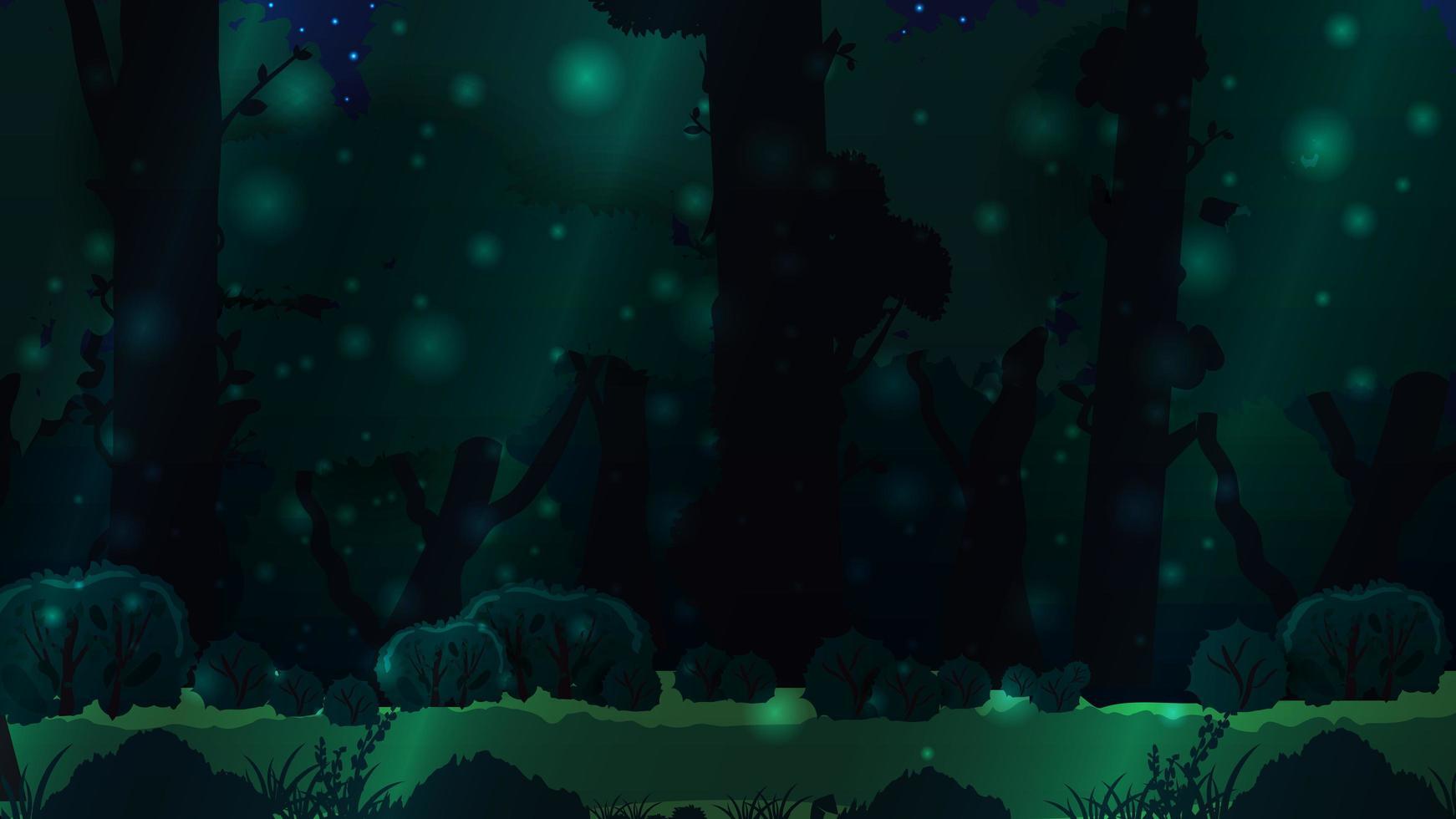 magica foresta oscura con grandi alberi vettore