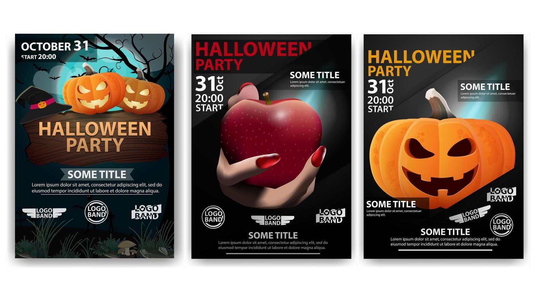 manifesti di halloween con zucche e mano con mela vettore