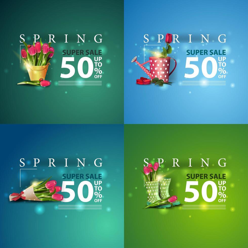 striscioni quadrati blu e verde di vendita di primavera vettore