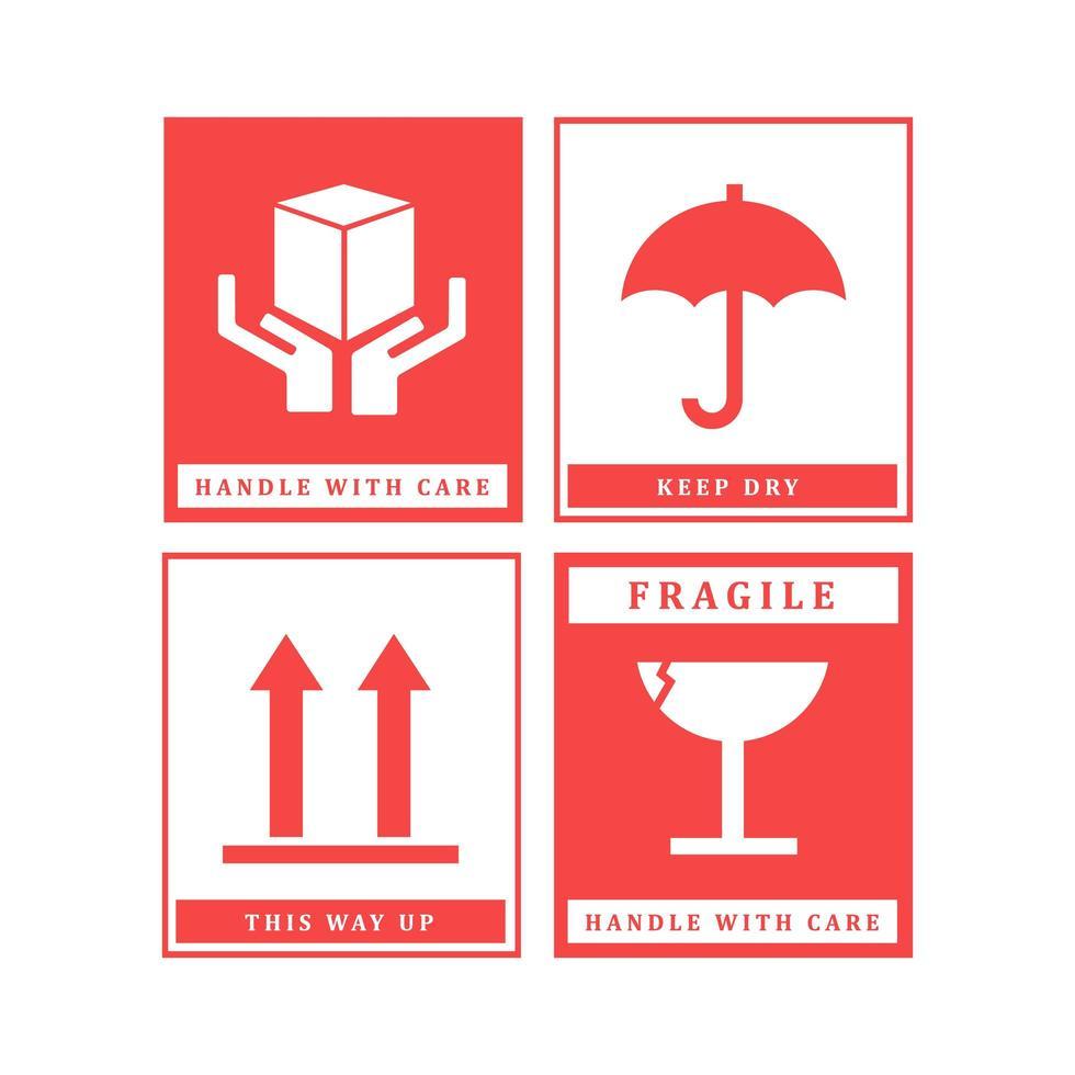 set di progettazione etichetta fragile vettore