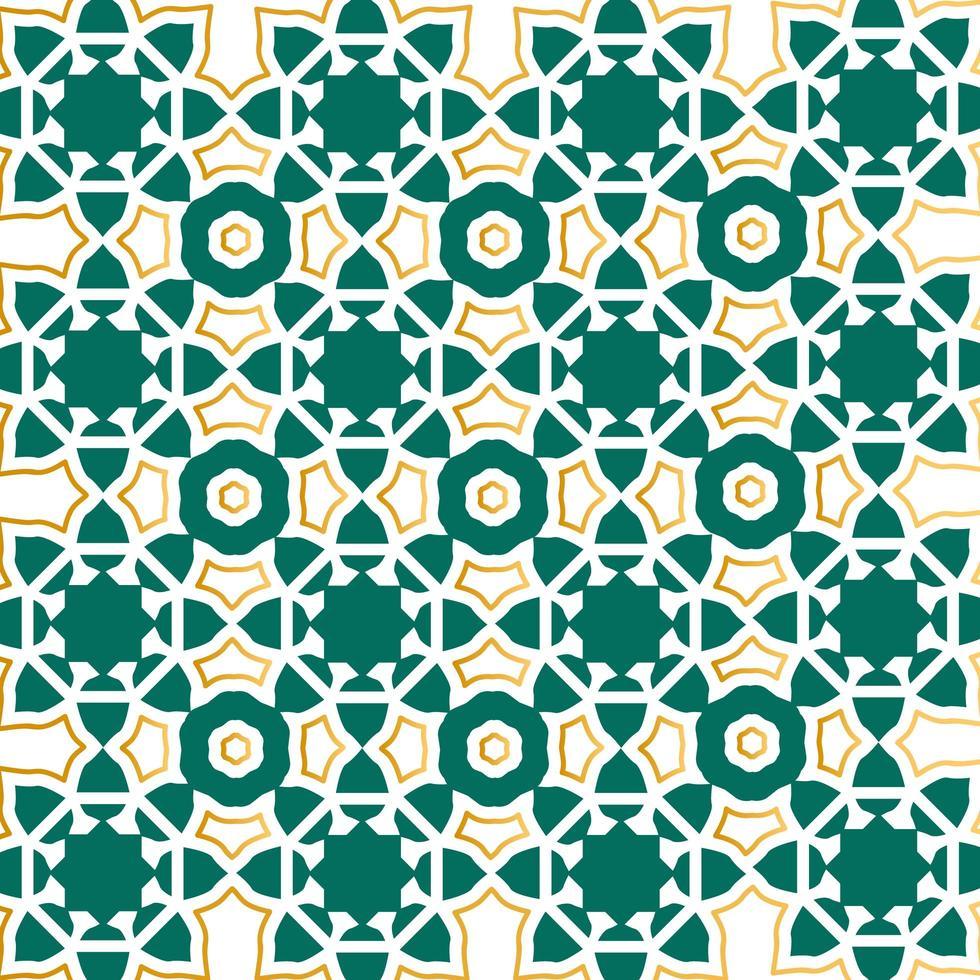 disegno del modello islamico contorno verde e oro vettore