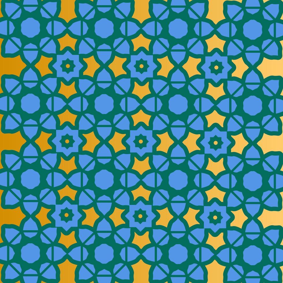 disegno islamico blu, oro e verde vettore