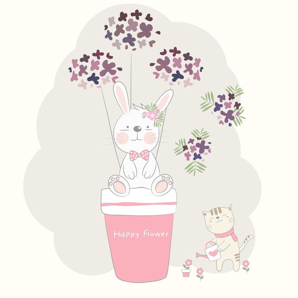 cartone animato baby coniglio in vaso di fiori e gatto vettore