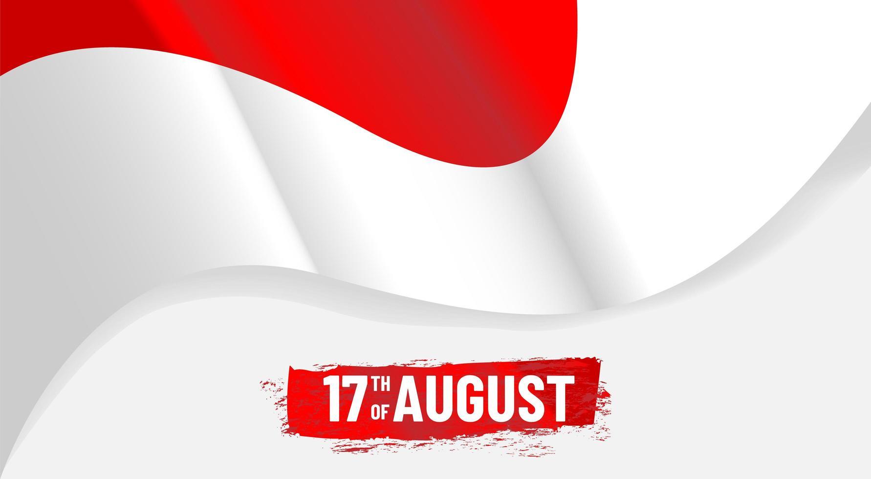 progettazione ondulata dell'insegna di festa dell'indipendenza dell'Indonesia vettore