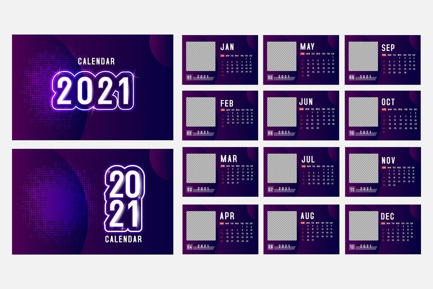 calendario viola orizzontale 2021 con spazio immagine quadrato vettore