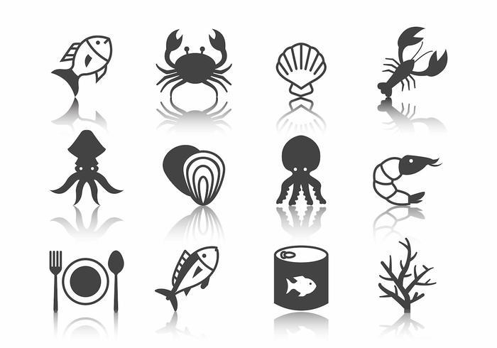 Vettore delle icone dei frutti di mare