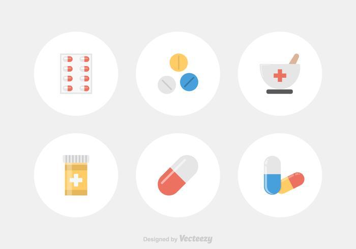 Icone piane di vettore di farmacia