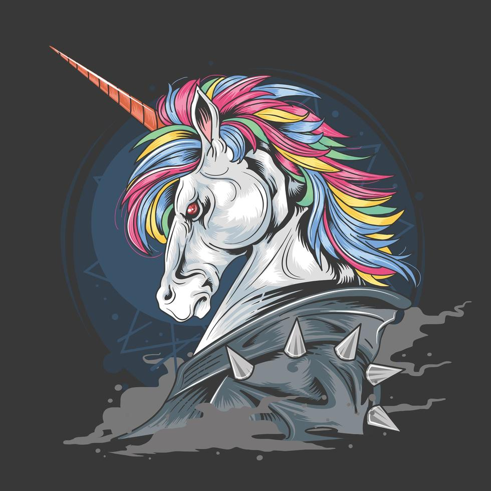 unicorno dal design punk jacket vettore