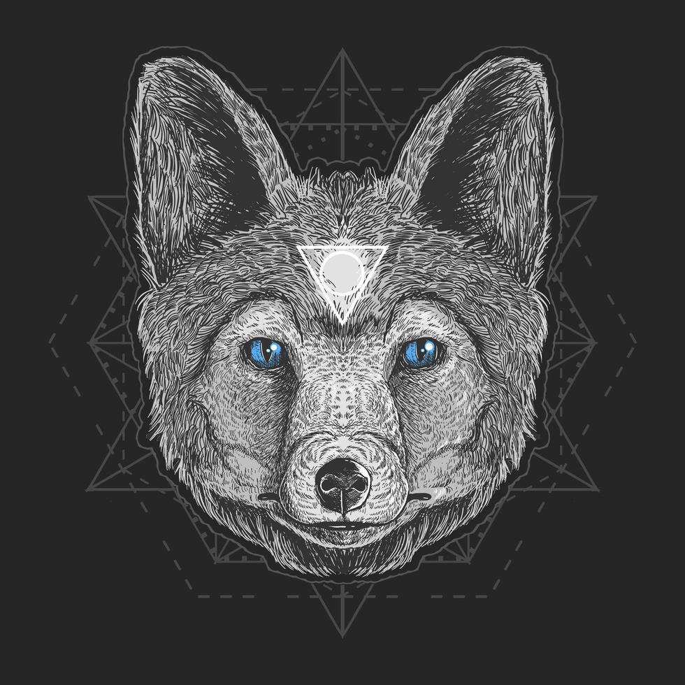 disegno di opera d'arte testa di lupo vettore