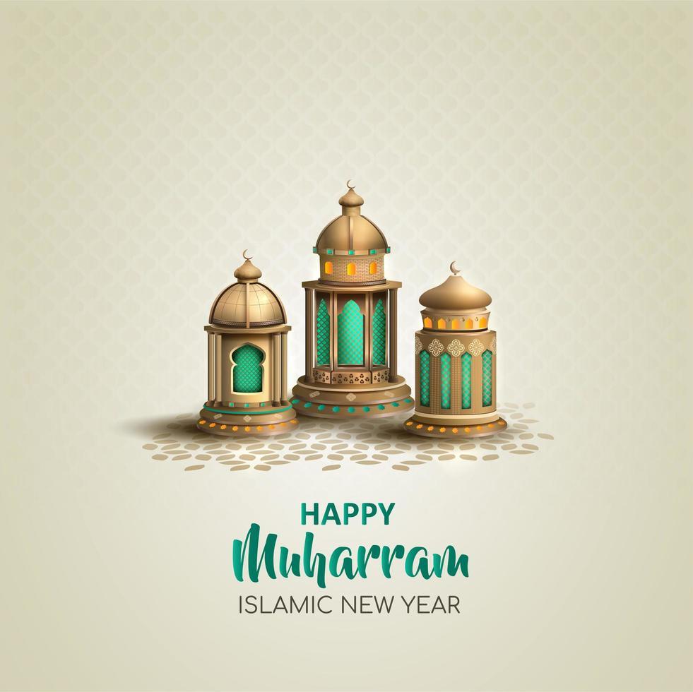 felice muharram islamico anno nuovo design lanterna vettore