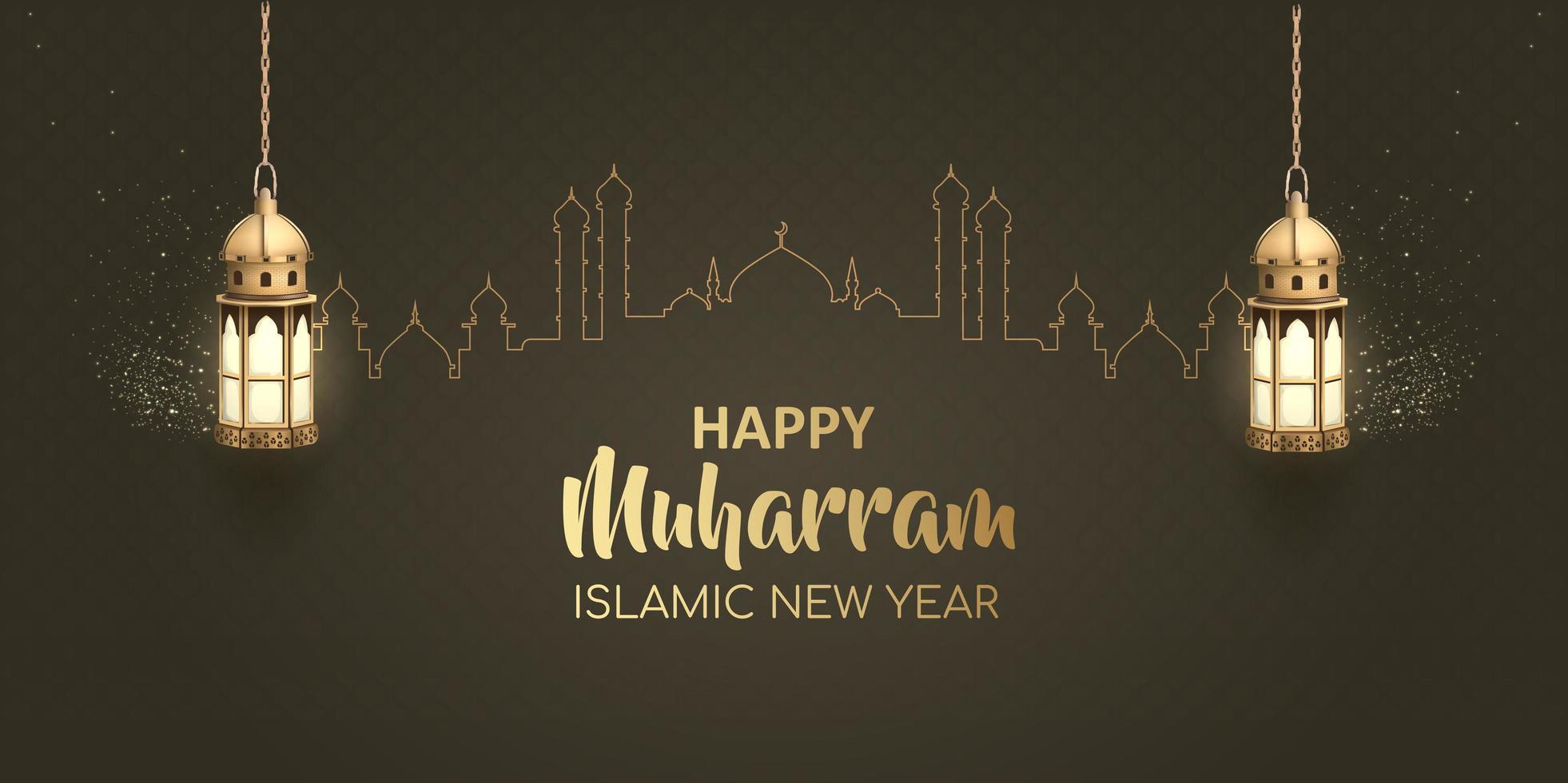 felice anno nuovo design islamico muharram vettore