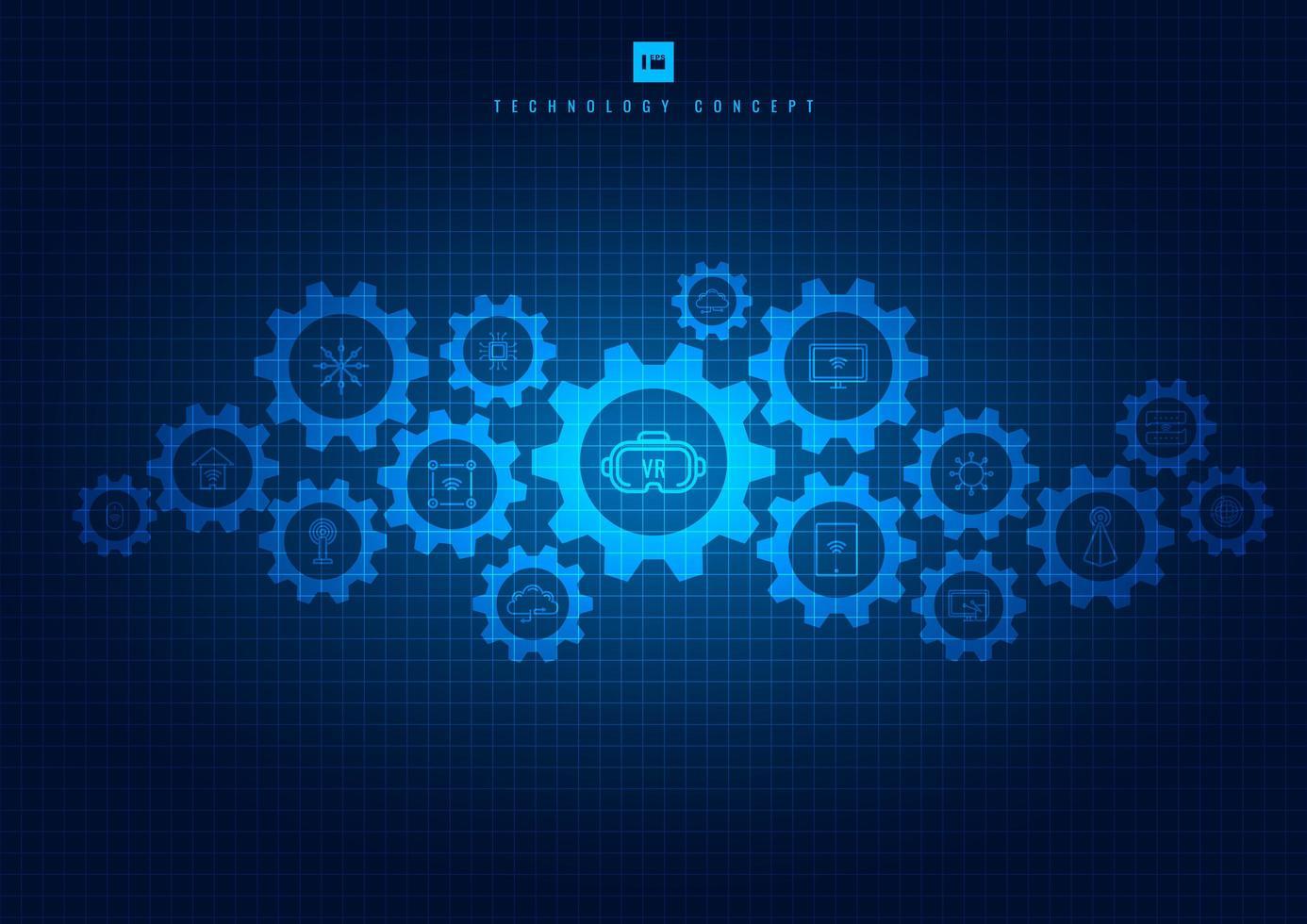 meccanismo di tecnologia di ingranaggi e icone sul blu incandescente vettore