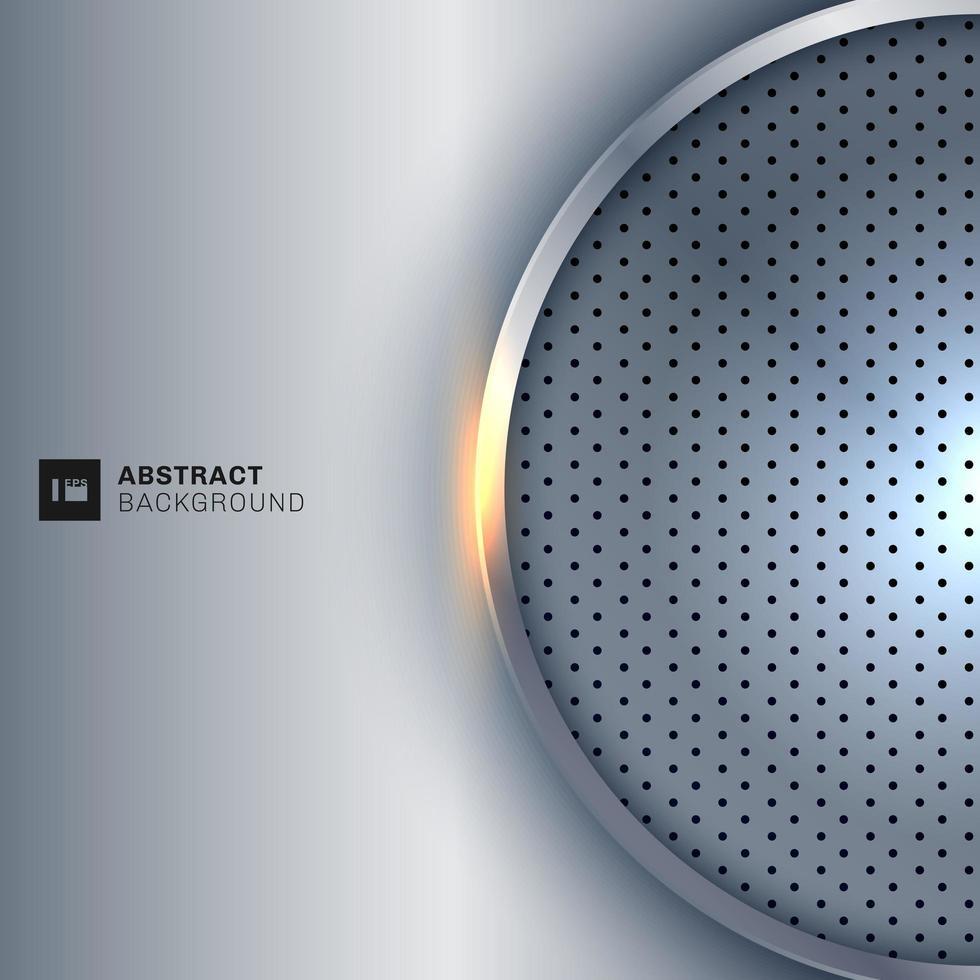 cornice metallica astratta cerchio d'argento su sfondo grigio cromato vettore