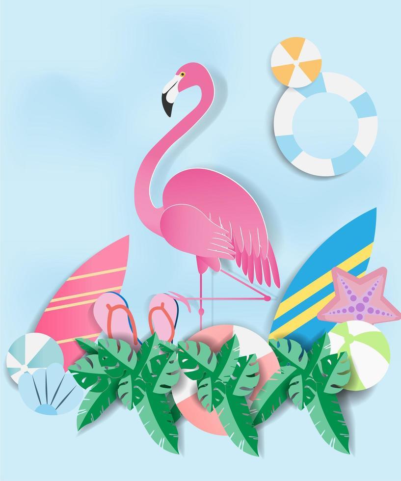fenicottero rosa in carta con oggetti estivi vettore