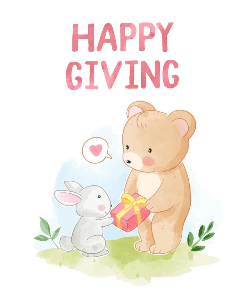 felice dare con l'orso fare un regalo al coniglio vettore