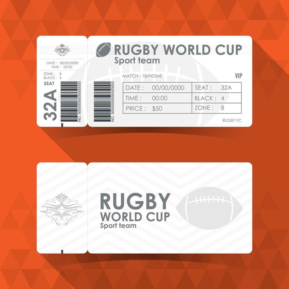 biglietto per la coppa del mondo di rugby vettore