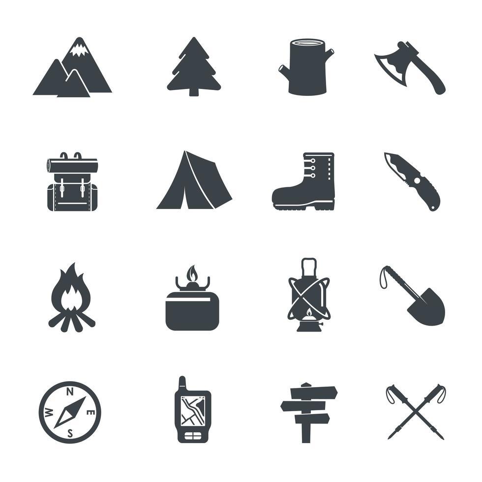 icone dell'attrezzatura escursionistica vettore