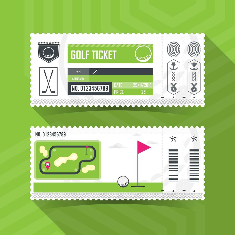 set di biglietti da golf vettore