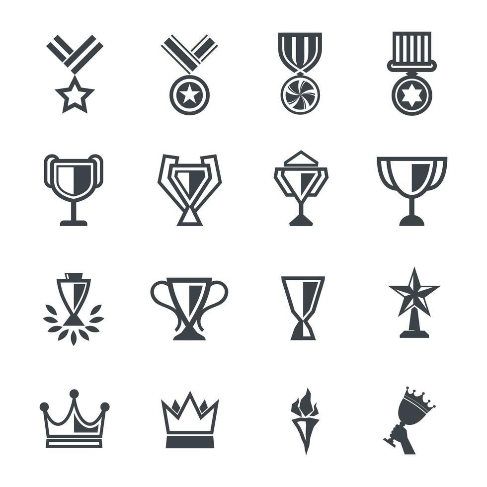 Set di 16 icone di premi vettore