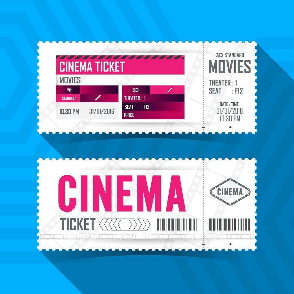 set di biglietti per film cinema vettore