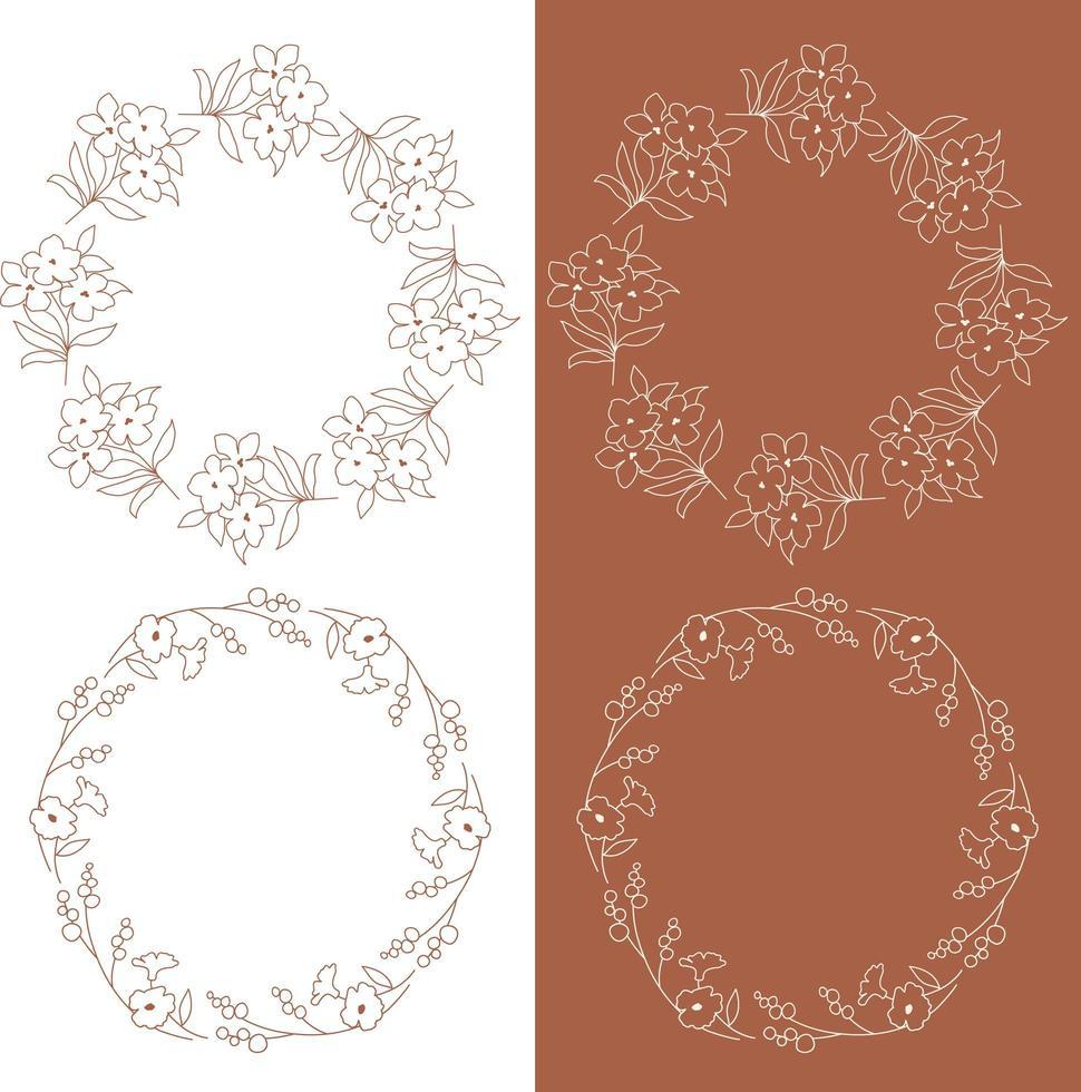 cornici floreali bianche e arancione vettore