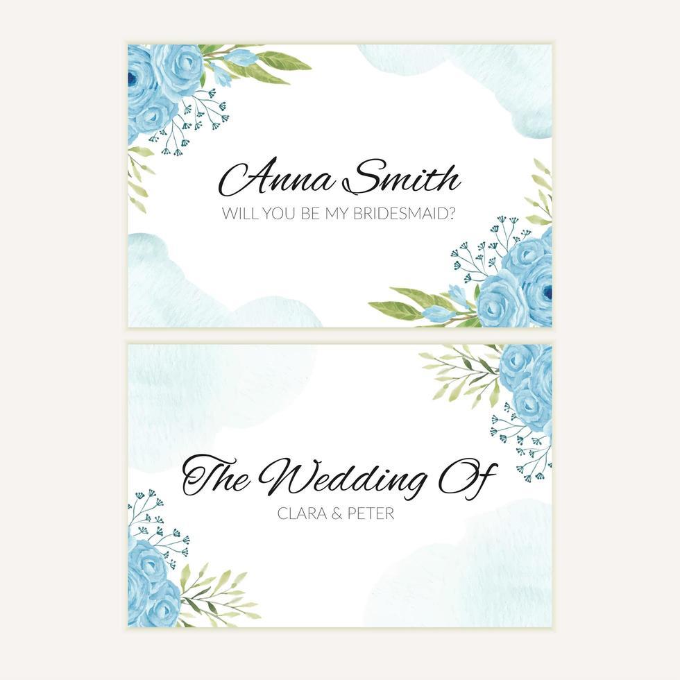 modello della cartolina d'auguri della damigella d'onore del fiore della rosa del blu dell'acquerello vettore