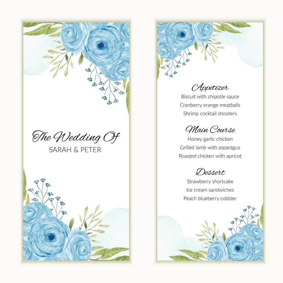 carta del menu di nozze con cornice fiore rosa blu dell'acquerello vettore