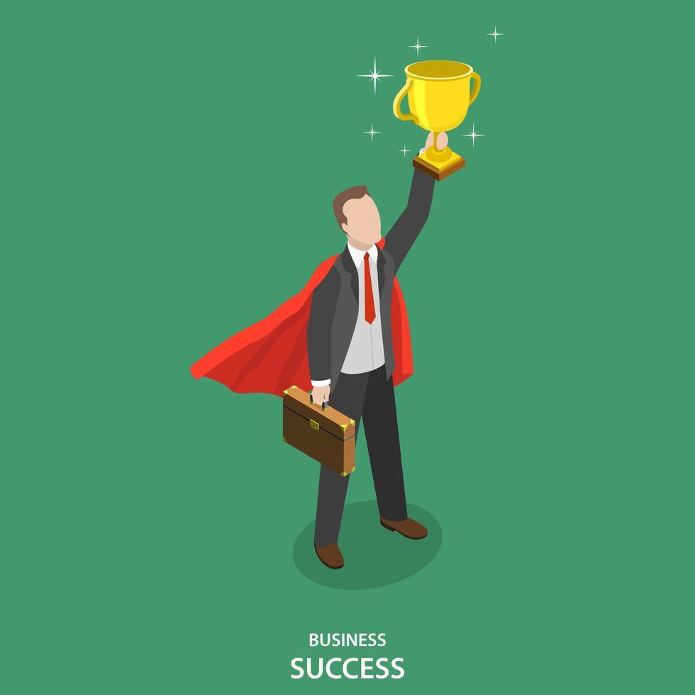 uomo d'affari di successo con mantello tenendo trofeo vettore