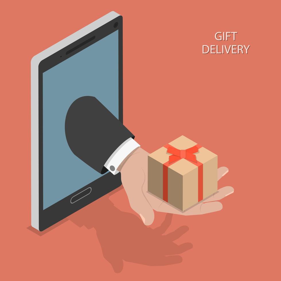 progettazione isometrica di consegna del regalo vettore